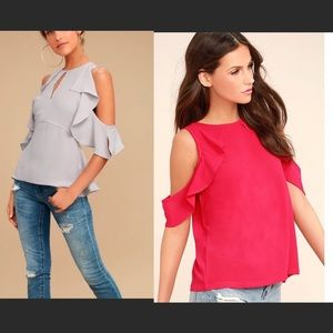 TWO LULU'S RUFFLE COLD SHOULDER TOPS SIZE S